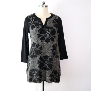 aryeh XL floral print sweater dress black